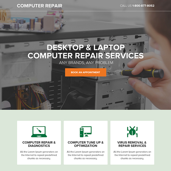 desktop and laptop repair service responsive landing page design Computer Repair example