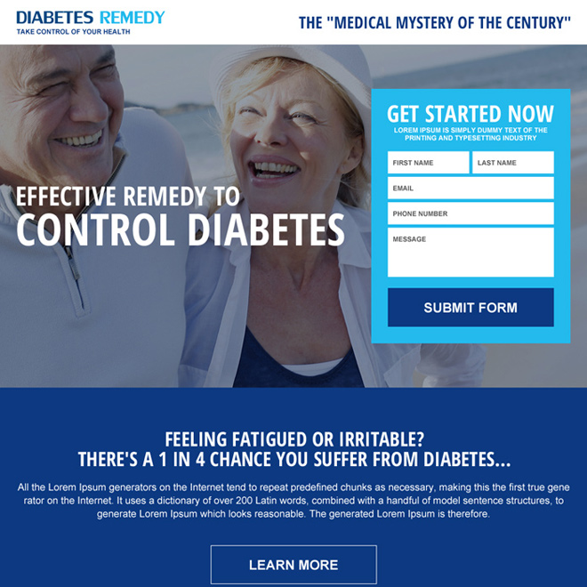 diabetes remedy effective landing page design Medical example
