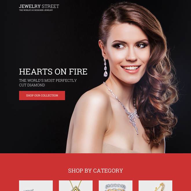 diamond jewelry lead generating bootstrap landing page design Jewelry example