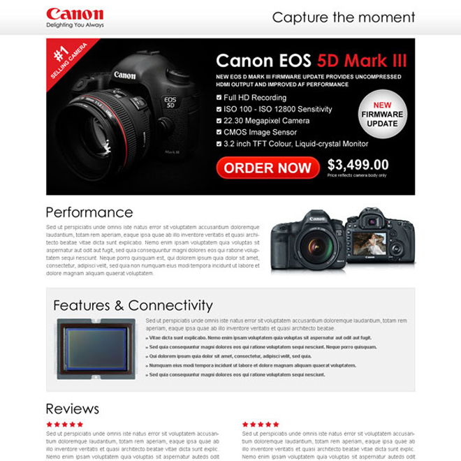 digital camera clean and most converting call to action landing page template Electronics example