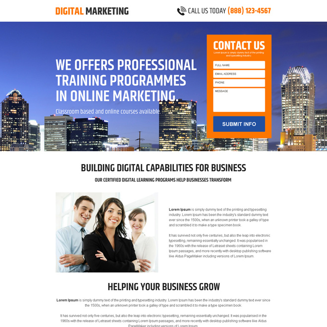 minimal digital marketing business landing page design Business Opportunity example