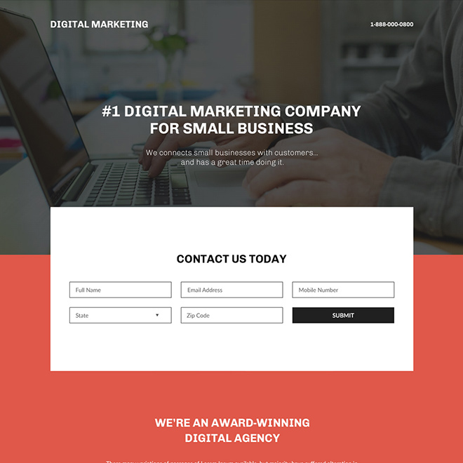 digital marketing company for small business landing page Marketing example