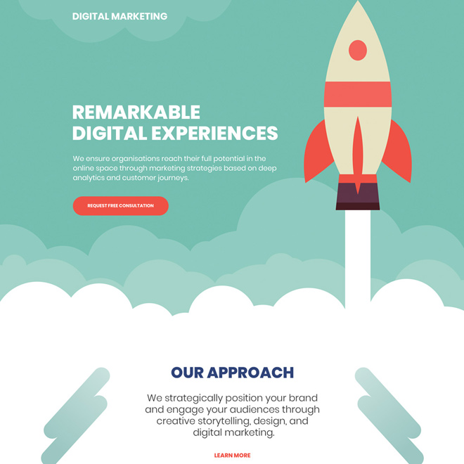 digital marketing free consultation responsive landing page Marketing example