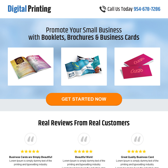 digital printing responsive landing page design Business example