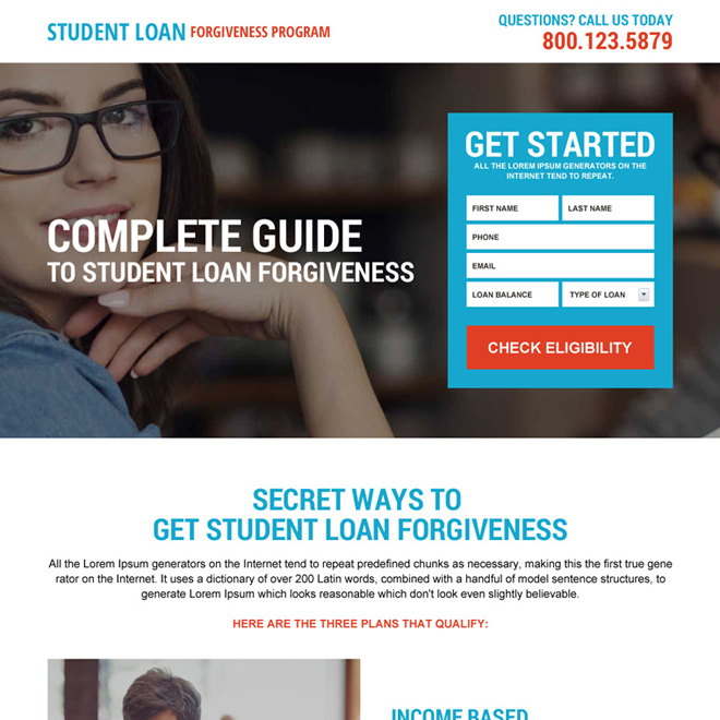 direct student loan forgiveness lead generating landing page Loan example