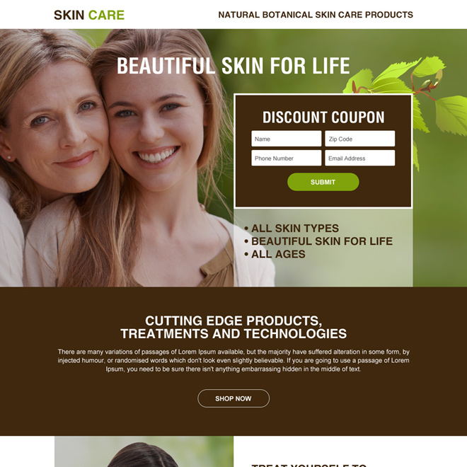 skin care product selling minimal landing page Skin Care example