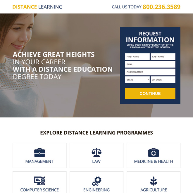 distance education online degree lead magnet landing page design Education example