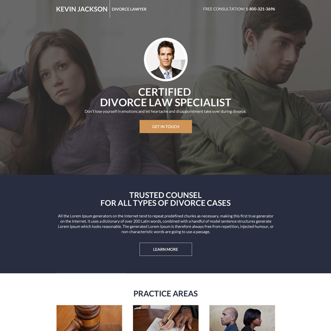 divorce lawyer mini lead generating landing page design Attorney and Law example