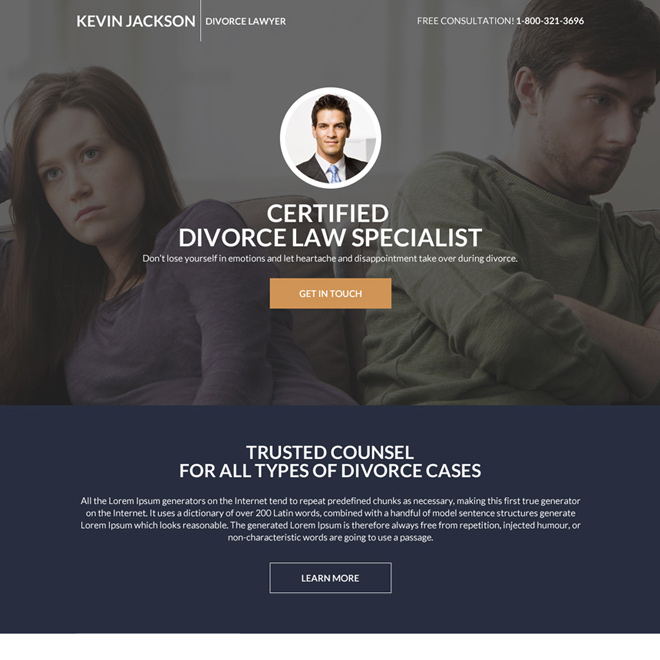 divorce lawyer specialist responsive landing page design Attorney and Law example