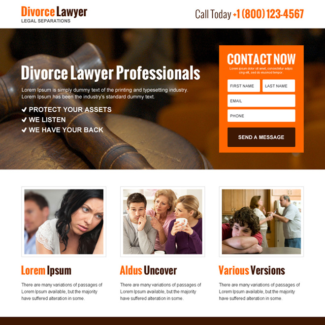 divorce lawyer professionals lead capture landing page design Attorney and Law example