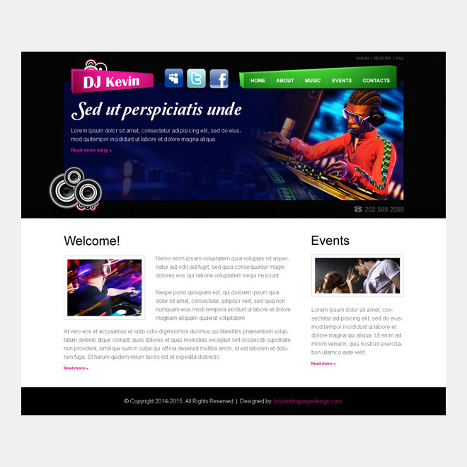dj attractive and effective personal website template psd Website Template PSD example
