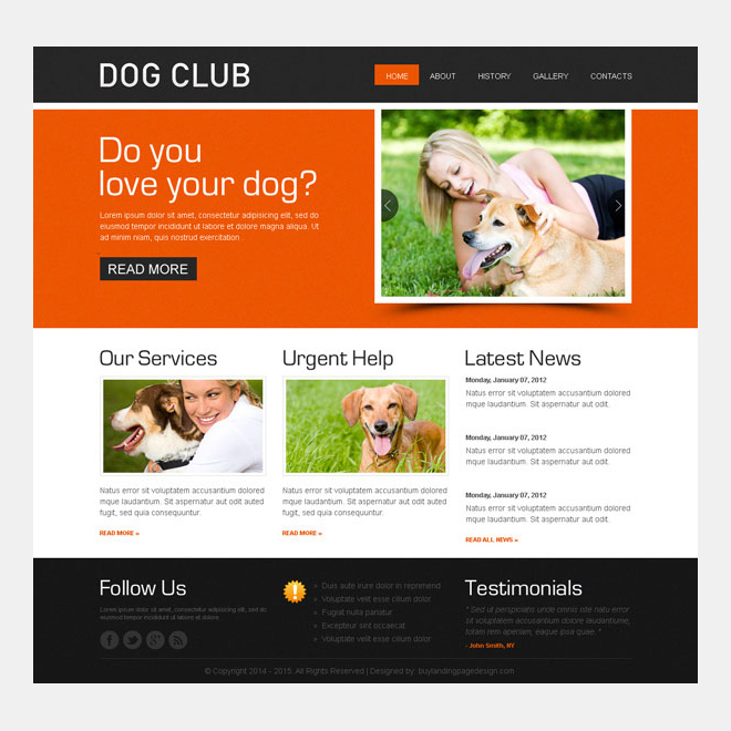 dog club website template design psd Website Template PSD example