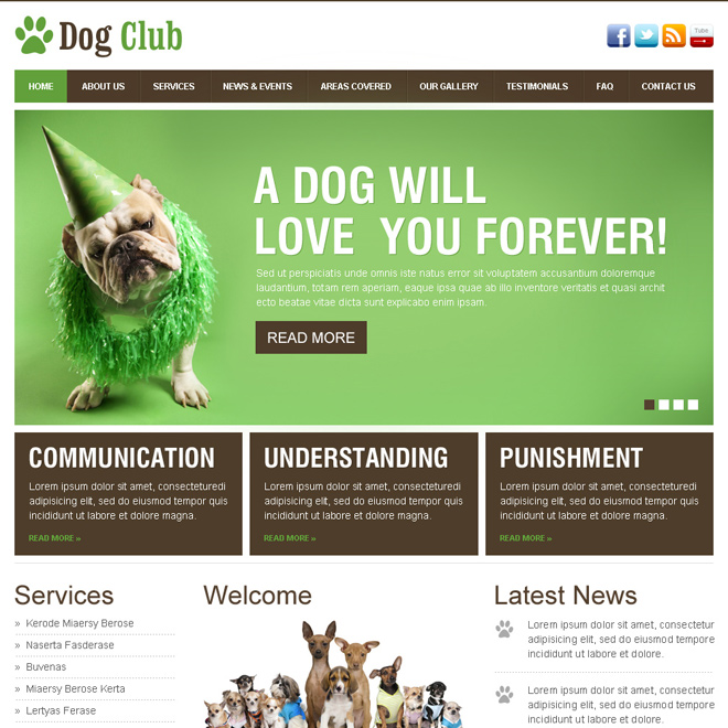dog lovers club beautiful and clean html website template Animals and Pets example