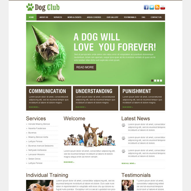 dog lover club website template design psd Website Template PSD example