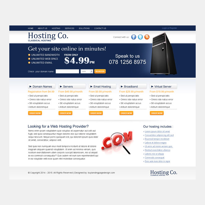 domain booking converting website template design psd Website Template PSD example