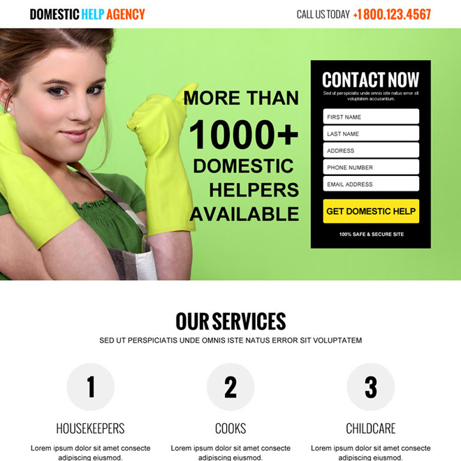 domestic help agency responsive lead capture landing page design Domestic Help example