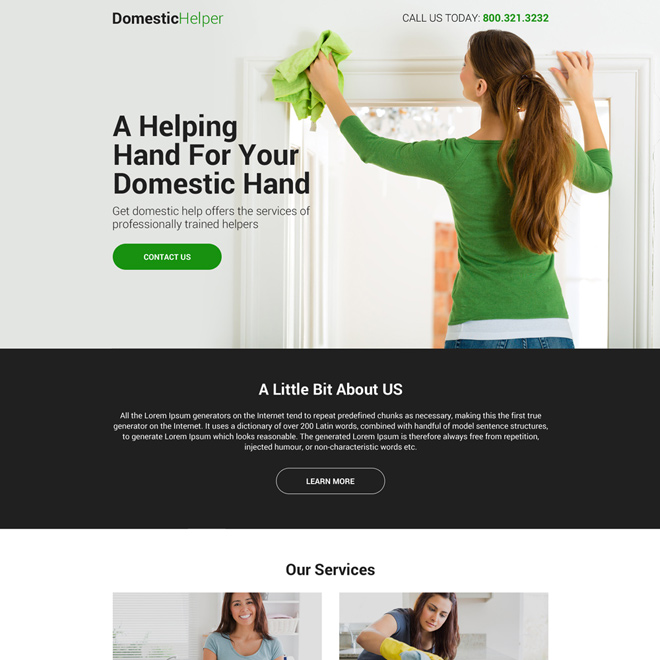 domestic helper lead capturing mini landing page design Domestic Help example