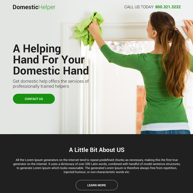 domestic help service mini responsive landing page Domestic Help example