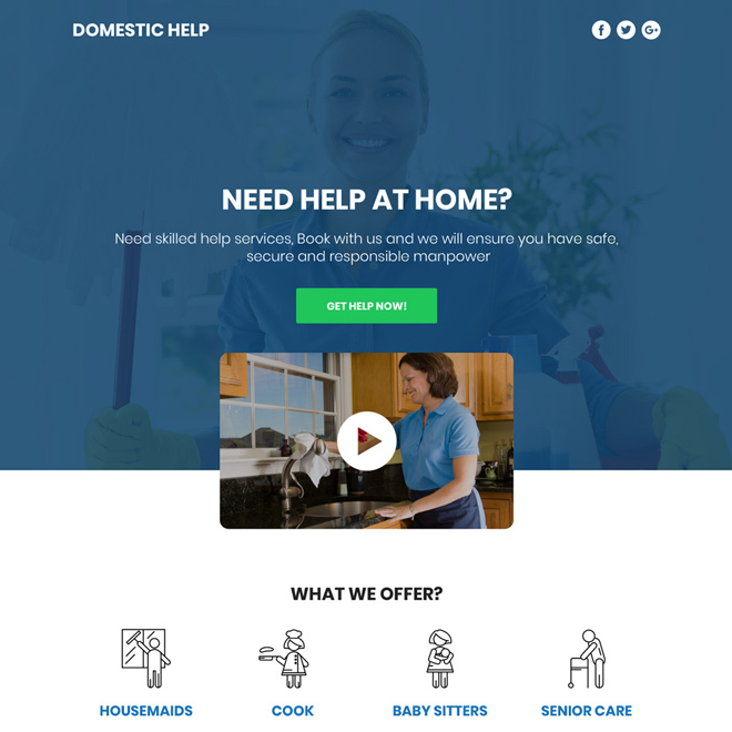 domestic help service responsive video funnel page design Domestic Help example
