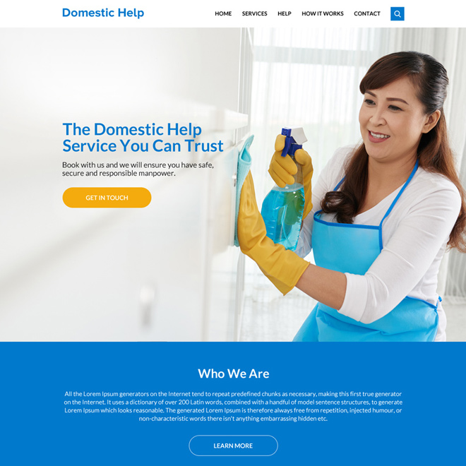clean domestic help service website design Domestic Help example