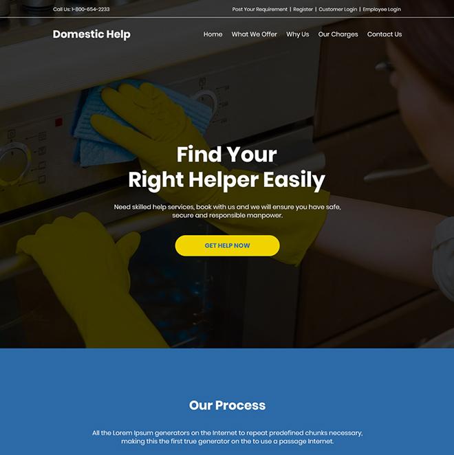 domestic helper service responsive website design Domestic Help example