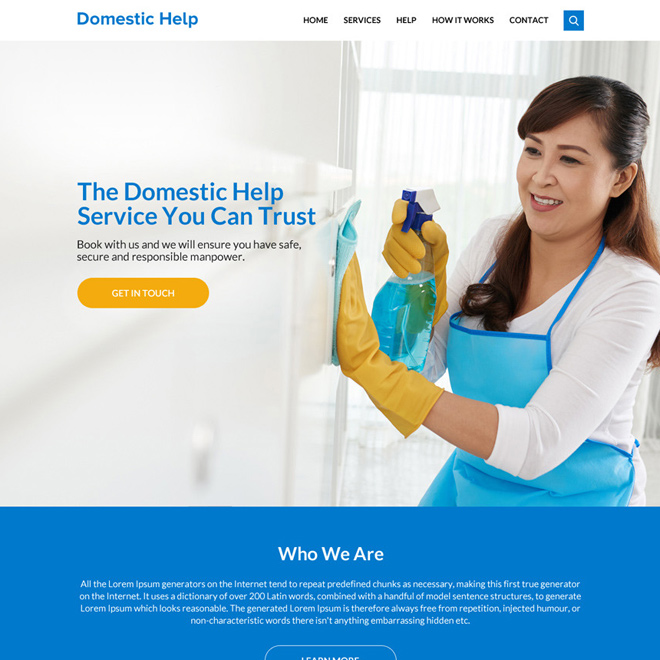 domestic help service responsive website design Domestic Help example