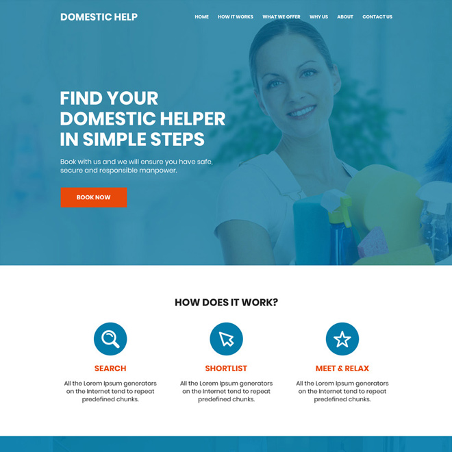 domestic helpers service responsive website design Domestic Help example