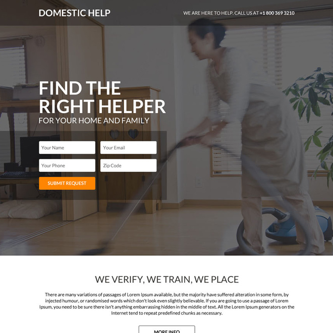 minimal and clean domestic helper responsive landing page Domestic Help example