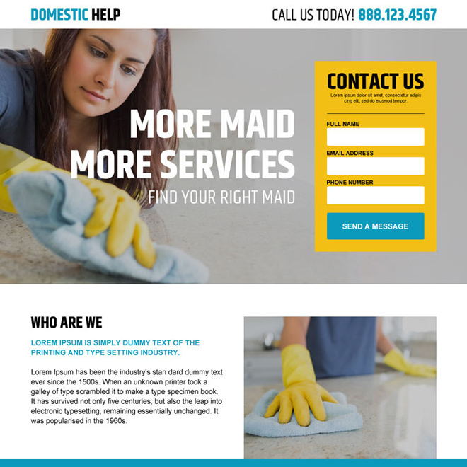 domestic maid help agency service contact us lead capture landing page Domestic Help example