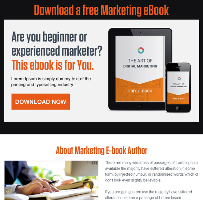 download free marketing ebook ppv landing page design E Book example