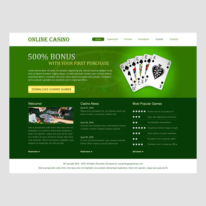 online casino game attractive and very appealing website template design psd to create your beautiful casino game website Website Template PSD example