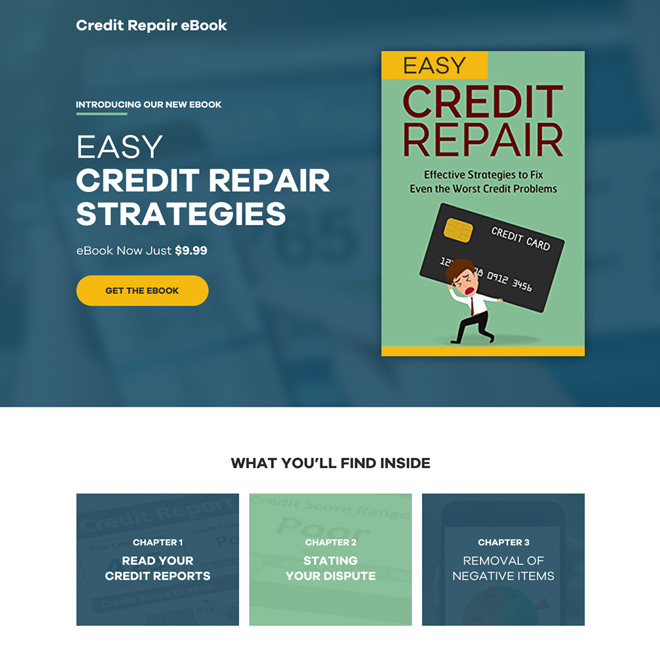 credit repair ebook selling responsive landing page design Ebook example