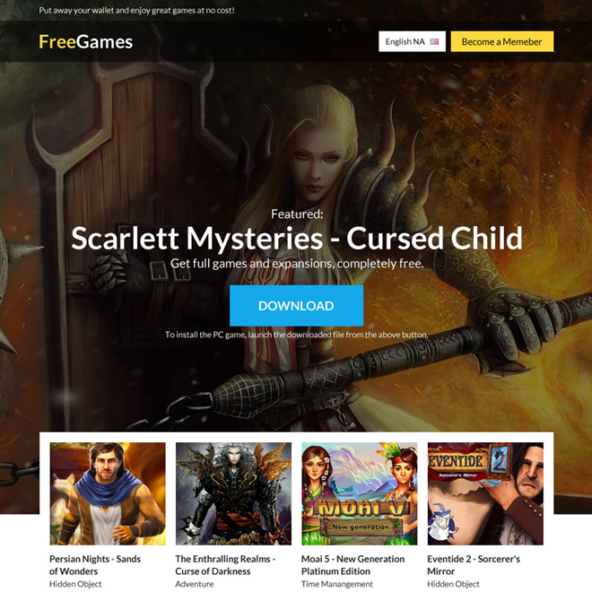 download free games signup capturing responsive landing page design Games example