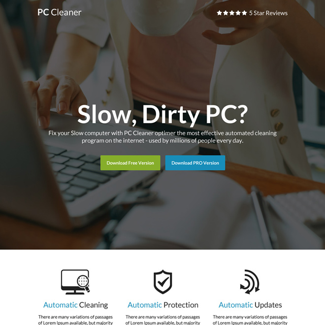 download pc cleaner software call to action landing page Software example