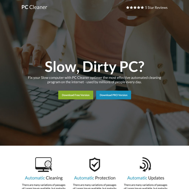download computer cleaner software selling responsive landing page Software example