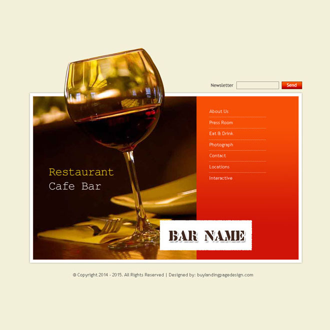 restaurant bar and cafe website template design psd for your bar website Website Template PSD example