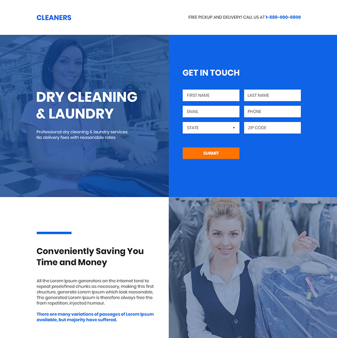 dry cleaning and laundry services responsive landing page design Cleaning Services example