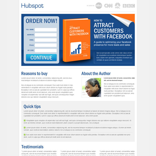attract customers with facebook clean and converting landing page design template Ebook example