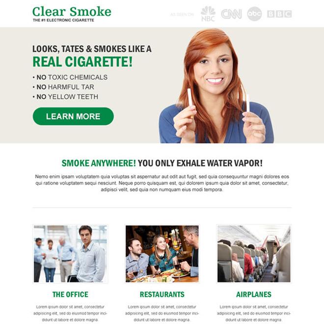 e-cigarette responsive landing page design E Cigarette example