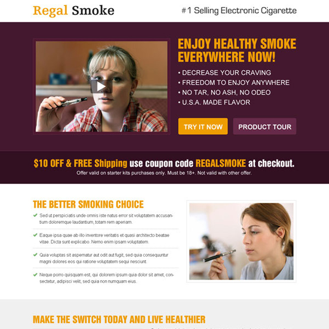 enjoy healthy smoke everywhere now with e-cigarette video responsive landing page design template E Cigarette example