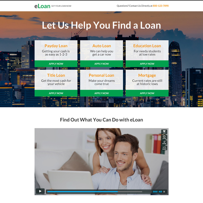minimal loan landing page design with video Loan example