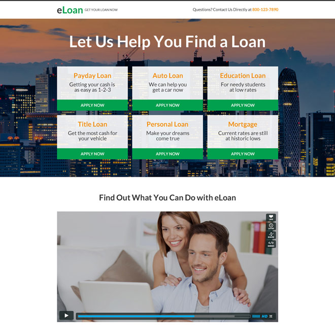 responsive e-loan mini video landing page design Loan example