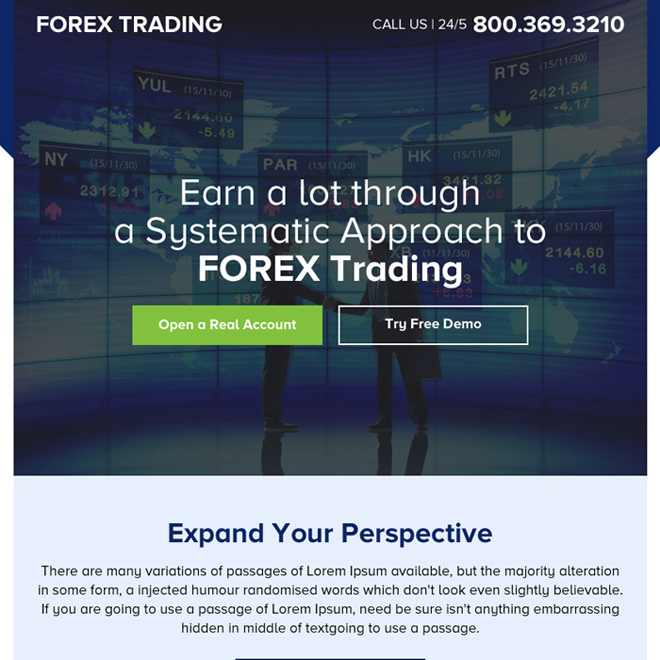 professional forex trading sign up capturing ppv landing page design Forex Trading example
