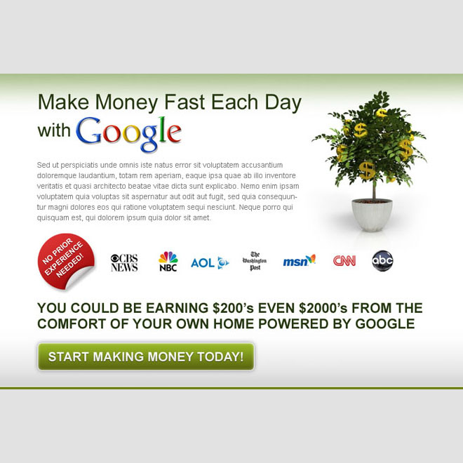 make money today with google effective and converting call to action ppv lander design Google Money example
