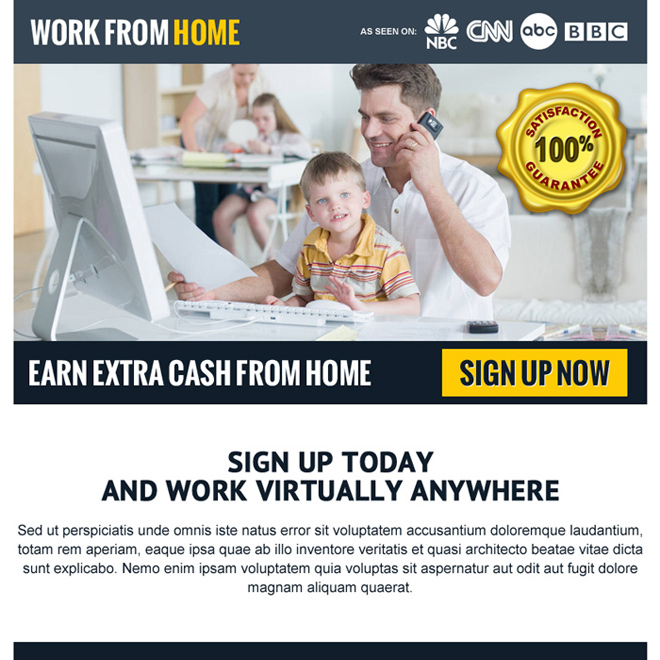 ... Earn Extra Cash From Home Ppv Landing Page Design Work From Home Example