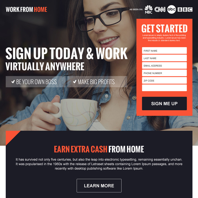 earn extra cash from home sign up lead gen lander design Work from Home example