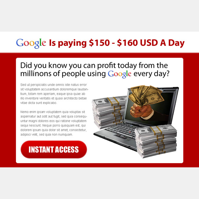profit today from google instant access ppv landing page design templates Google Money example