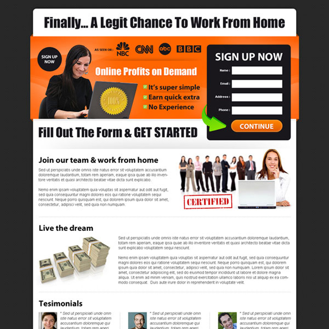 ... Online Profits On Demand Sign Up Form Lead Capturing Landing Page Design  Work From Home Example