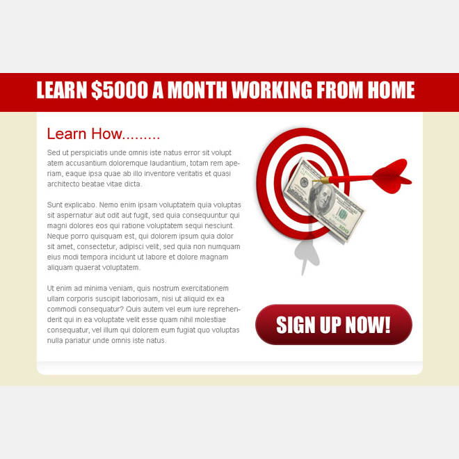 sign up now call to action button ppv lander design for work from home business PPV Landing Page example