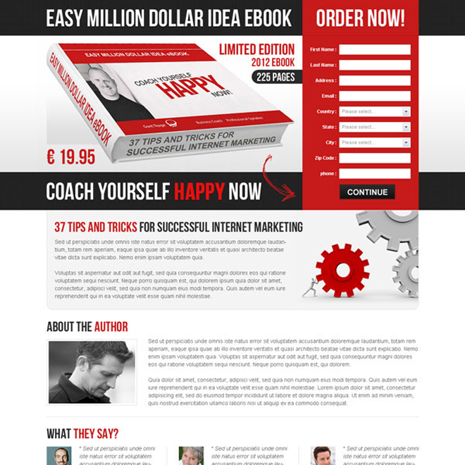 easy million dollar idea ebook order now converting lead capture landing page Ebook example